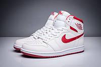 Мужские Баскетбольные кроссовки Air Jordan Retro 1 (White/Red) , фото 1
