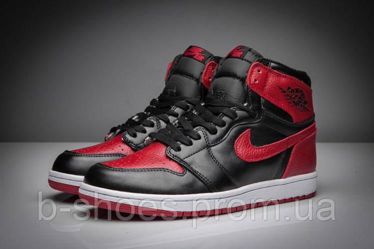 Мужские Баскетбольные кроссовки Air Jordan Retro 1 (Black/Red)
