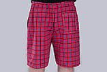 Чоловічі шорти в клітинку (плащівка), червоного кольору, фото 3