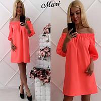 Летнее платье с открытыми плечами на резинке, оранжевое