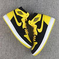 Мужские Баскетбольные кроссовки Air Jordan Retro 1 (Black/Yellow) , фото 1