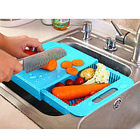 Разделочная кухонная пластиковая доска на мойку для нарезки овощей Голубой