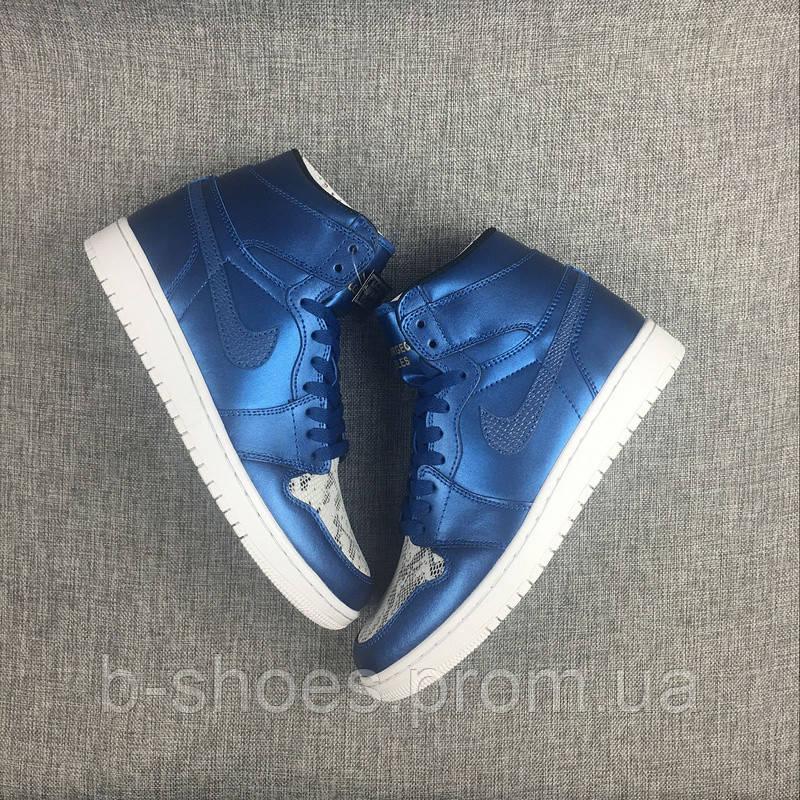 Мужские Баскетбольные кроссовки Air Jordan Retro 1 (Metallic Blue/Snake)