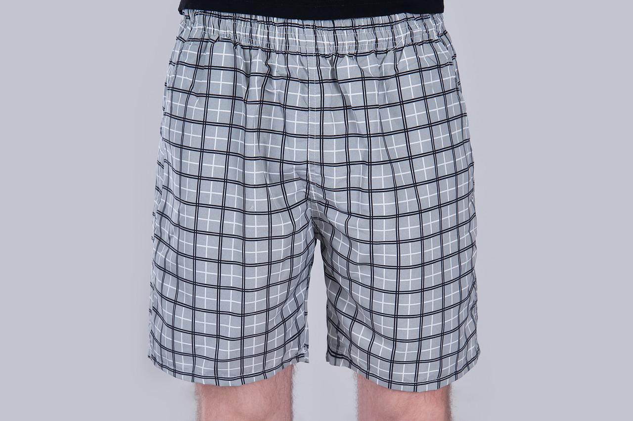 Чоловічі шорти в клітинку (плащівка), сірого кольору
