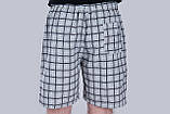 Чоловічі шорти в клітинку (плащівка), сірого кольору, фото 3