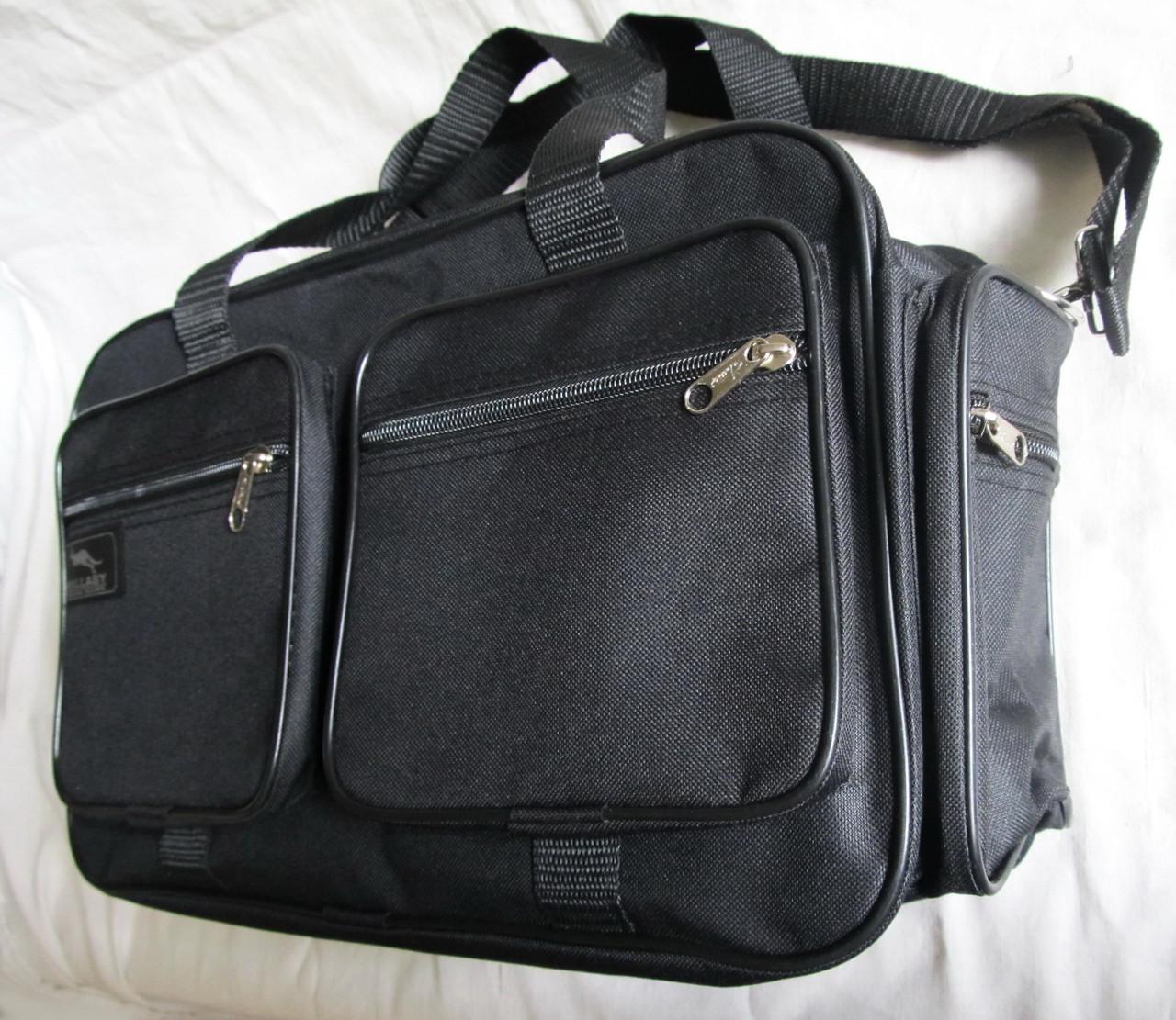 Мужская сумка через плечо дорожная очень крепкая и вместительная А4+ в2691 черная 42x28x19см