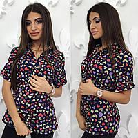 """Шифоновая женская летняя рубашка  """"Аврора"""" с принтом и коротким рукавом (2 цвета)"""
