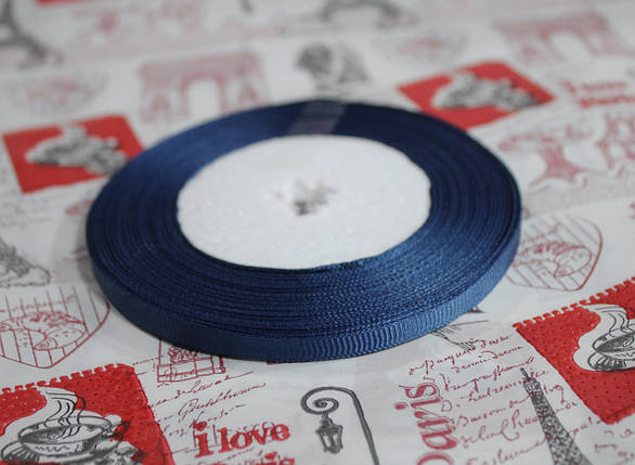 Лента репсовая темно- синяя 9 мм, 23 м, фото 2