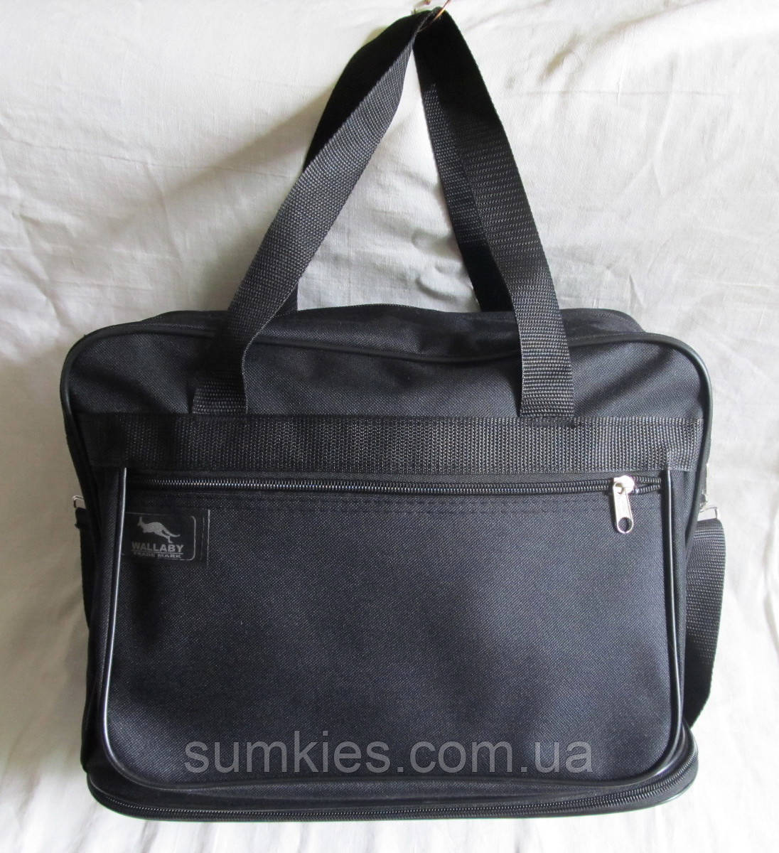 4e05ff1b8a06 Мужская сумка Wallaby 2071 черная барсетка через плечо А4 с расширением  32х26+12х19см