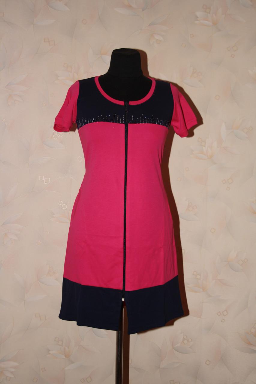 Двоколірний халат жіночий трикотажний