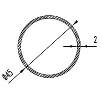 Алюмінієва Труба кругла  ПАС-1707 45х2 / AS Срібло