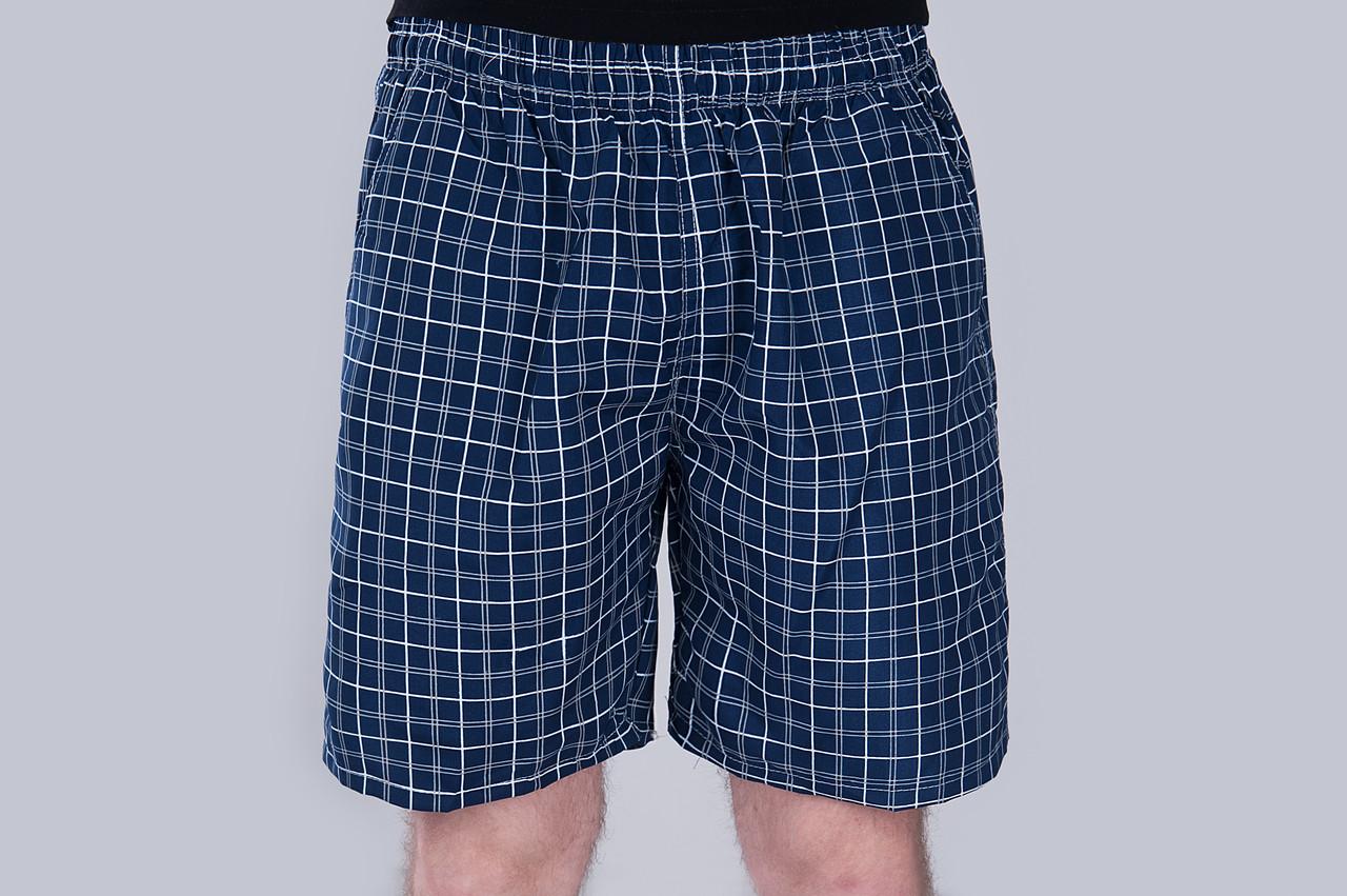 Чоловічі шорти в клітинку (плащівка), темно-синього кольору