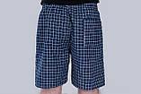 Чоловічі шорти в клітинку (плащівка), темно-синього кольору, фото 3