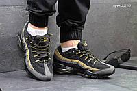Мужские кроссовки  Nike 95 ( найк 95) черные с золотом, нубук+замша