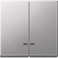 Две клавиши с окошком для инд. алюминий MTN3420-0460
