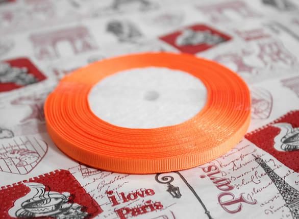 Лента репсовая оранжевая 9 мм, 23 м, фото 2