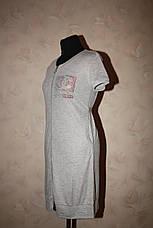 Трикотажный женский халат серого цвета, фото 2
