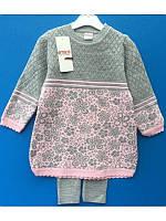 Красивый вязаный комплект - туника и лосины для девочки 74-104