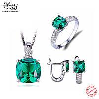 Серебряный комплект с зеленым изумрудом и цирконием (кольцо, серьги, подвеска с цепочкой)
