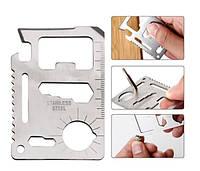 """Подарок мужчине! Многофункциональная визитка мультитул - кредитка """"11 в 1"""" + чехол в ПОДАРОК!"""