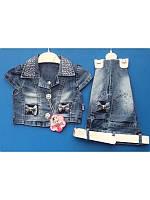 Костюм джинсовый со стразами - короткая безрукавка и бриджи 5-6 лет