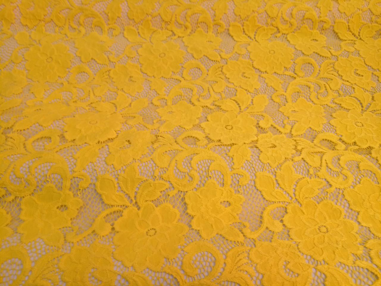 Гипюр кружево желтый