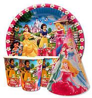 """Набор для детского дня рождения """"Принцессы"""". Тарелки, стаканчики и колпачки по 10шт."""