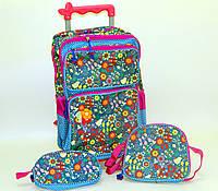 """Комплект детский чемодан - рюкзак дорожный на колесах + сумка + пенал """"Josef Otten"""" Цветы 520223"""