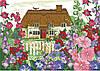 Канва с рисунком Домик в цветах