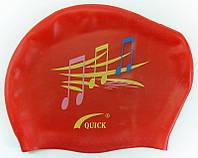Плавательная шапочка для длинных волос (цвет красный, рисунок ноты)