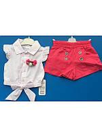 Модный костюм для девочки с красными шортами и блузкой 68-80