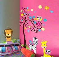 """Интерьерная наклейка на стену в детскую - """"Дерево с животными. Зверята DF5091"""""""