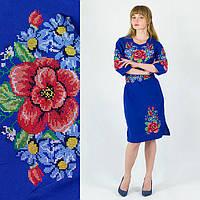 Платье вышиванка Мальвы с васильками больших размеров цвета индиго