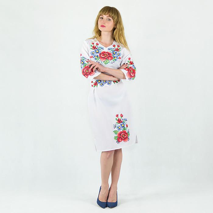7bc6bfe533de83e Вышитое платье Мальвы с васильками белого цвета: продажа, цена в ...