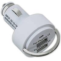 Автомобильное З/У USBx2 с кольцом белое зарядка смартфона навигатора для автомобиля универсальное ЮСБ