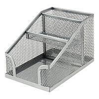 Подставка металлическая куб с отделением для ручек Axent, серебрянная