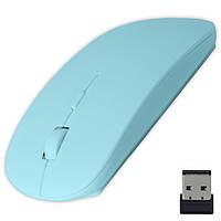 Игровая мышь Аpple голубая для ноутбука компьютера windows универсальная с переключателем DPI беспроводная