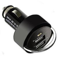 Мощное автомобильное зарядное устройство USBx2 с кольцом Черное для смартфона навигатора видеорегистратора