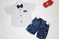 Нарядный детский комплект с рубашкой и джинсовыми шортами, Турция, 2 года