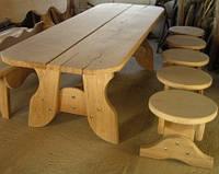 Скамья 2м без спинки из натурального дерева из комплекта Гамма, фото 1