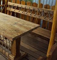Скамья 1.6м со спинкой из натурального дерева из комплекта Кантри, фото 1