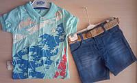 Детский летний костюм для мальчиков 1-4 года футболка поло и джинсовые шорты