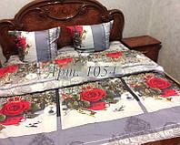 Комплект постельного БЯЗЬ оптом и в розницу, С красными розами на серых квадратах 1054