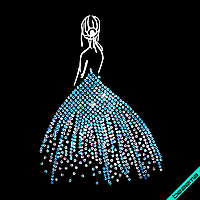 Аппликация, наклейка комбинированная на ткань Девушка в платье (DMC 2мм-бел.,2мм-аквамар., Матовый)