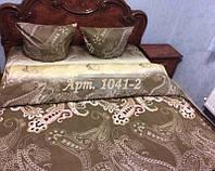 Комплект постельного БЯЗЬ оптом и в розницу, Турецкий огурец коричневый 1041-2 Двуспальный Евро