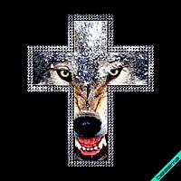 Аппликация, наклейка комбинированная на ткань Крест и волк (DMC 3мм-бел., Матовый)