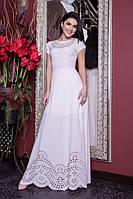 Белое женское платье в пол с перфорацией