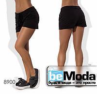 Комфортные женские короткие шорты с поясом кулиской и карманами по бокам черные