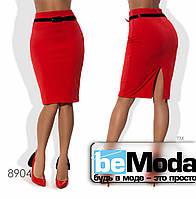 Стильная женская деловая юбка средней длины с поясом в комплекте черная