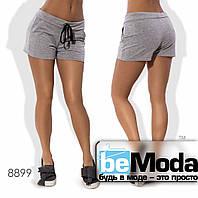 Комфортные женские короткие шорты с поясом кулиской и карманами по бокам серые